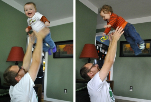 Two photos of dad tossing up children