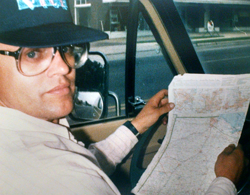 Man holding map.
