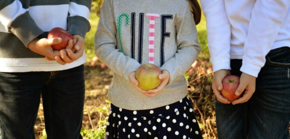 Photo of 3 kids holding apples