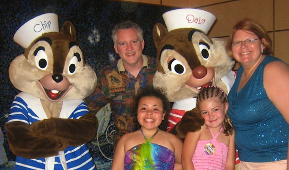 Family with Chip and Dale.