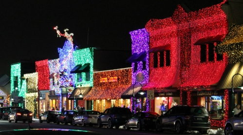 Buildings lit for the Big, Bright Light Show in downtown Rochester, MI
