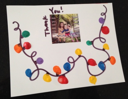 Homemade thank you note with fingerprint holiday lights