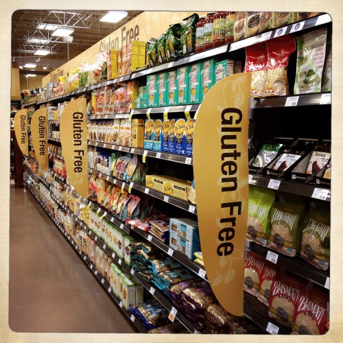 Gluten free section of a grocery store