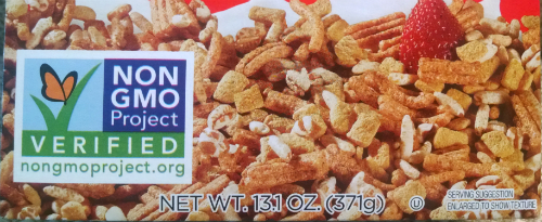 Box of cereal with the Non GMO Project Verified logo