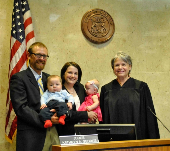 Family adopting twins with their judge on the case