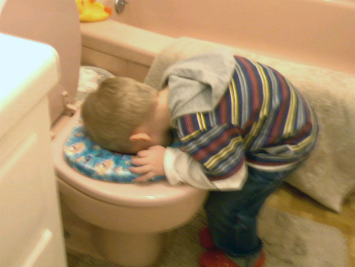 Little boy putting his head into a potty seat
