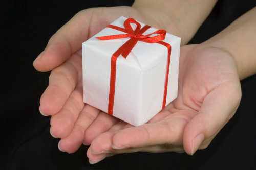 Closeup of woman's hands presenting a small gift box