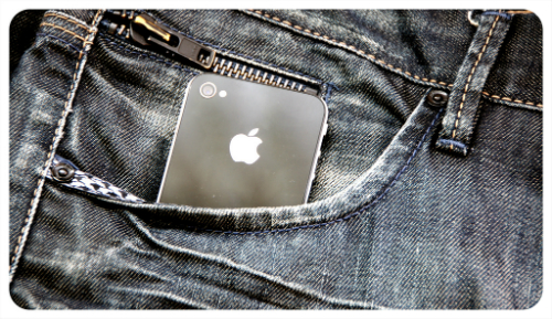 iPhone in jeans pocket