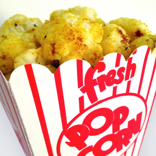 Close up shot of cauliflower popcorn in a popcorn container