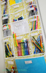Hanging school supplies storage