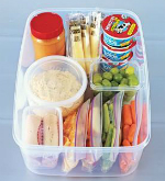 Container with healthy snack options.