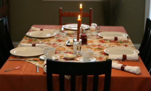 Closeup of a set dinner table