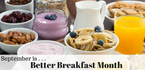 "Various breakfast foods and ""September is Better Breakfast Month"" text"