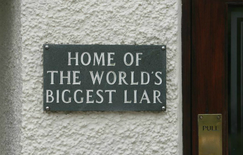 Liar sign on wall
