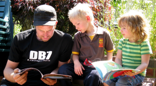 dad reading to boy and girl
