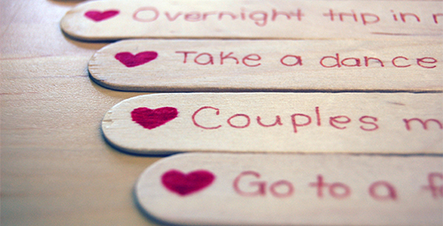 date ideas written on popsicle sticks