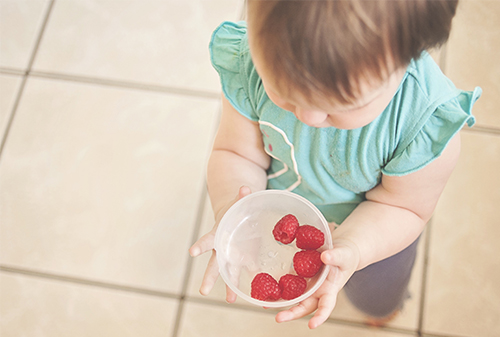 child holding bowl of berries