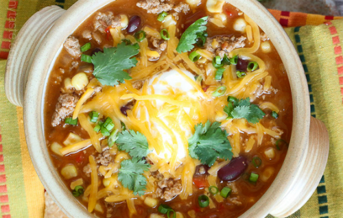 close up of turkey chili taco soup
