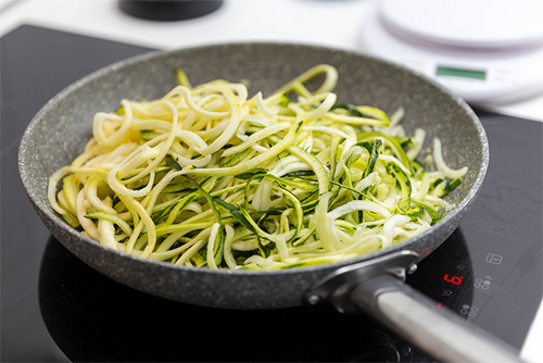 zucchini noodles in skillet