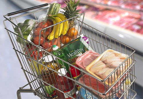 food in grocery cart