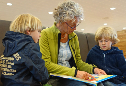 grandma reading to two young boys
