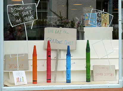 "bookstore window ""The Day the Crayons Quit"""