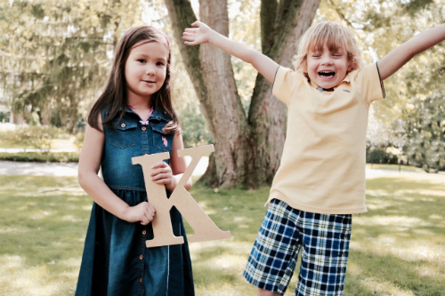 boy and girl on first day of school