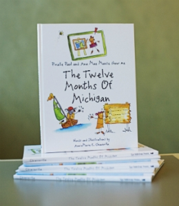 close up of The Twelve Months of Michigan book