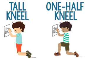 tall kneel, one-half kneel