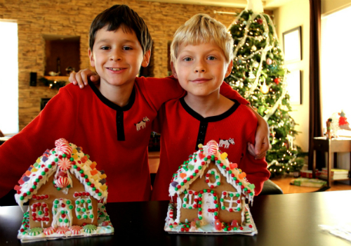 boys with gingerbread houses