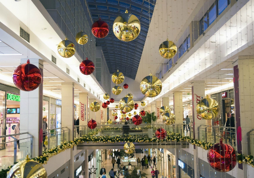 Christmas decorations in mall