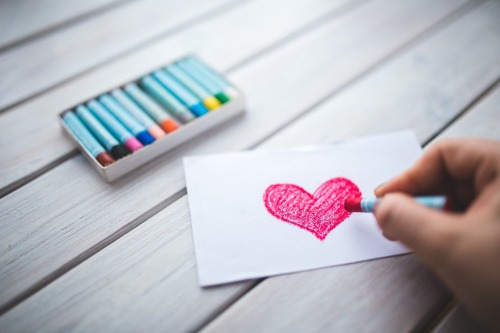 hand coloring a heart